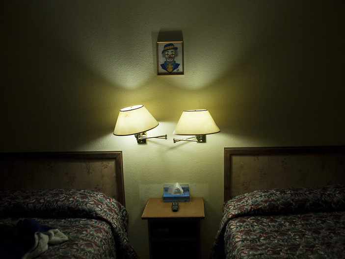 Photo of a dingy motel room
