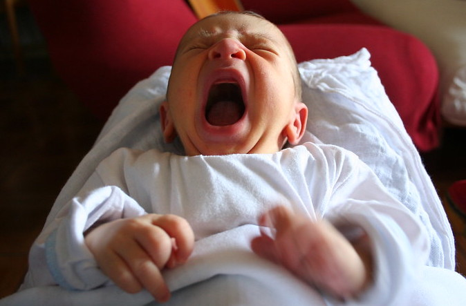 Photo of a screaming baby.