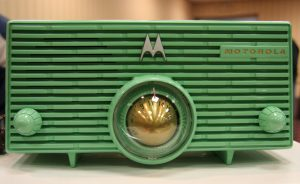 Photograph of a vintage Motorola radio.