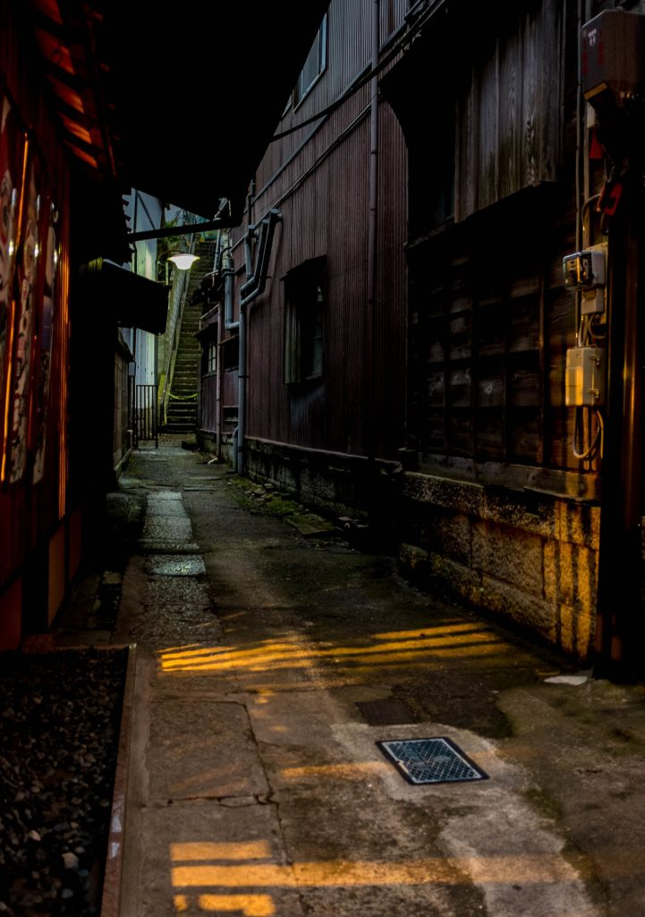 photograph of a dark alley at night.