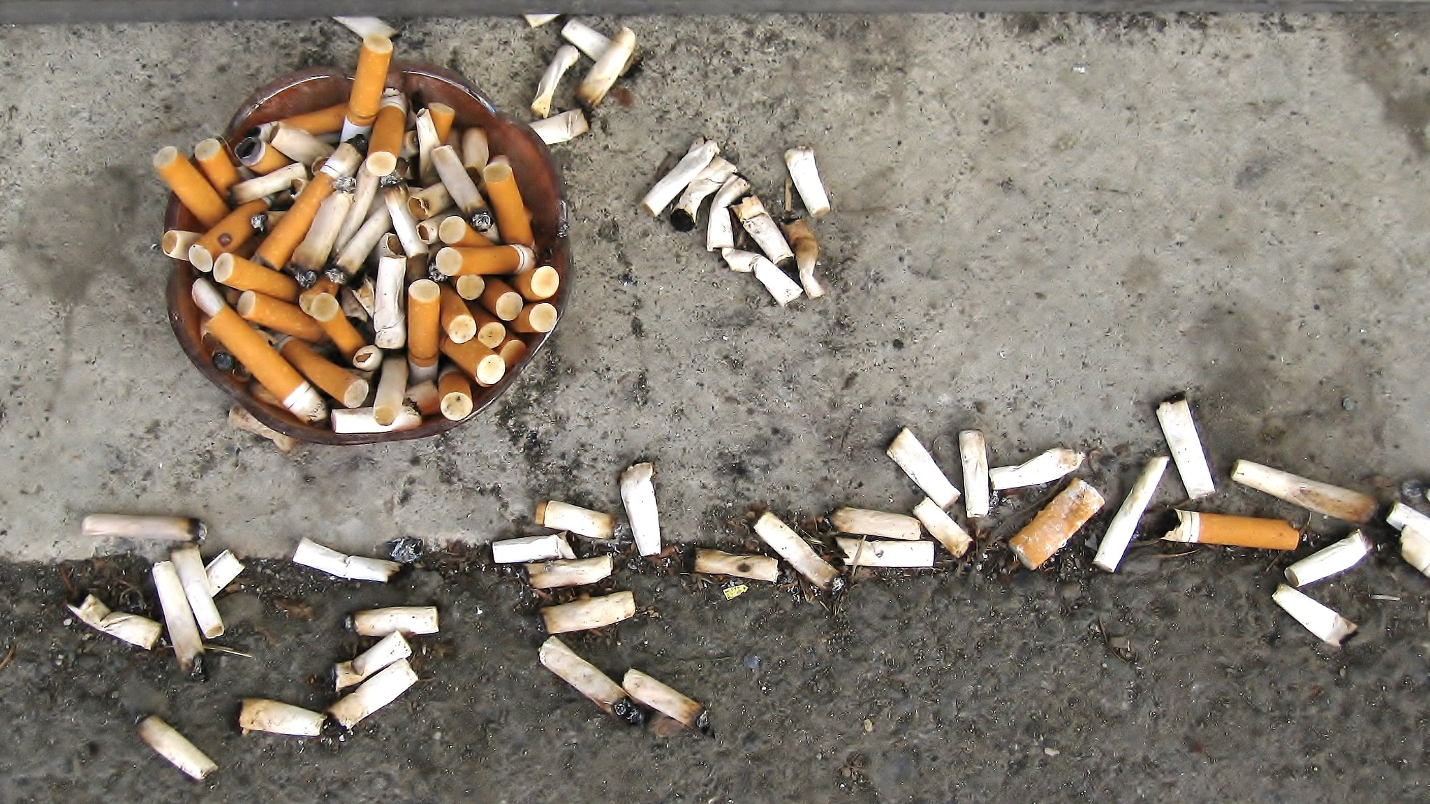 Photograph of cigarette butts on the sidewalk.
