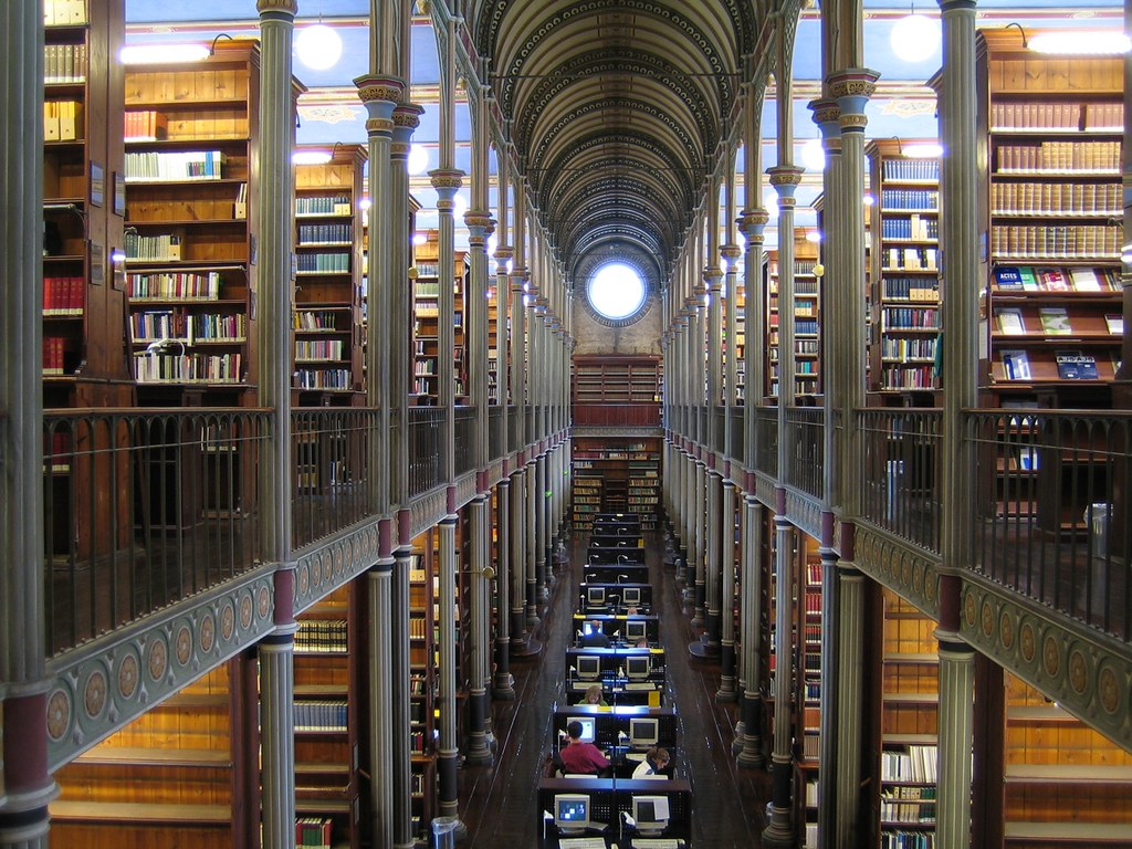Image of the inside of a library.