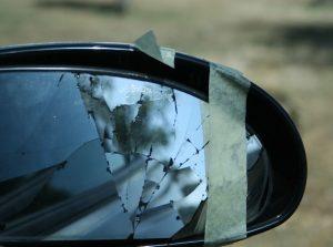 A broken rearview mirror